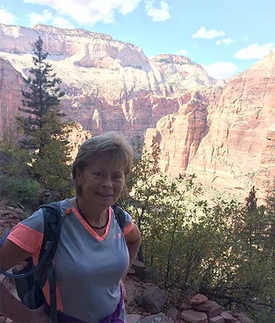 Sue Henderson hiking at the Grand Canyon