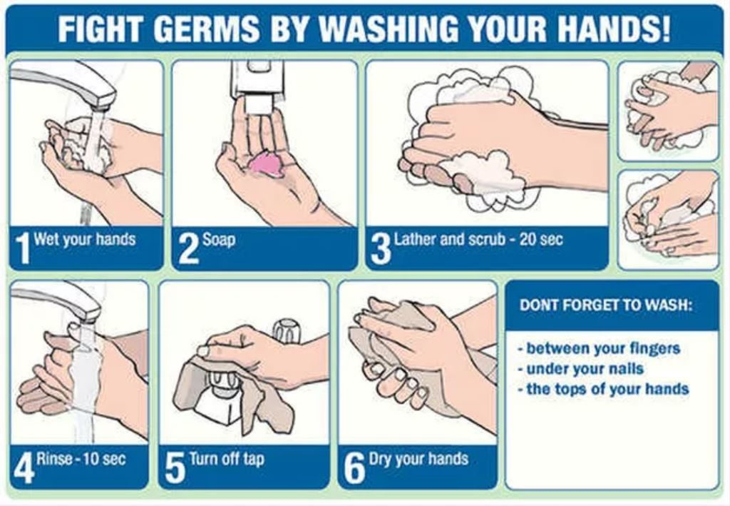 Fight germs by washing you hands: Wet your hands, Use soap, Lather and scrub 20 seconds, Rinse 10 seconds, Turn off the tap, Dry your hands (Don't forget to wash between your fingers, under your nails and on the tops of your hands)