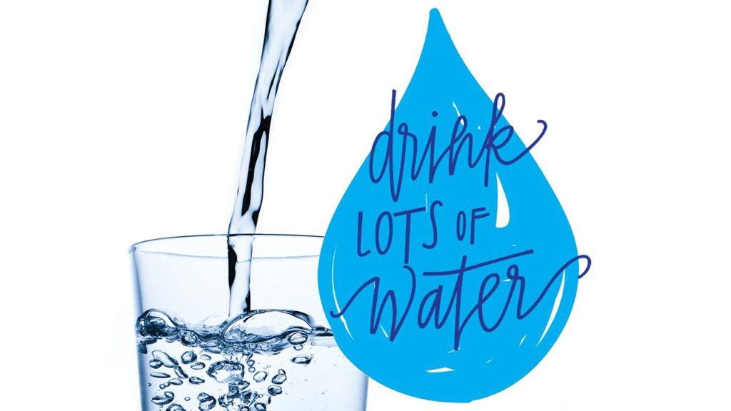 Drink lots of water (water pouring into glass and big droplet)