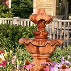 Fountain and flowers in front yard